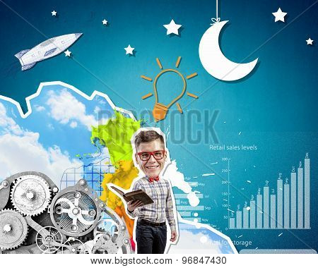 Young funny businessman with opened book in hands poster