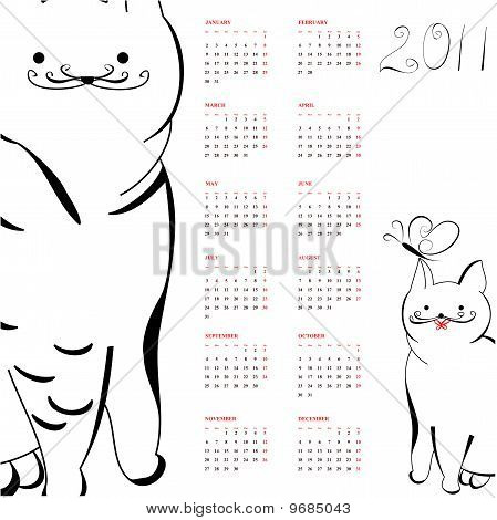 Calendar with cats for 2011. Universal template for greeting card, web page, background poster