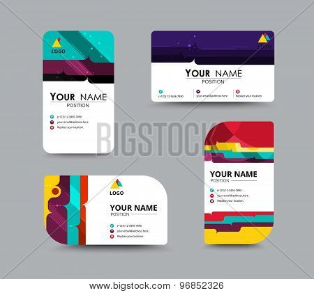 Business Contact Card Template Design. Contrast Color Design. Vector Illustration.