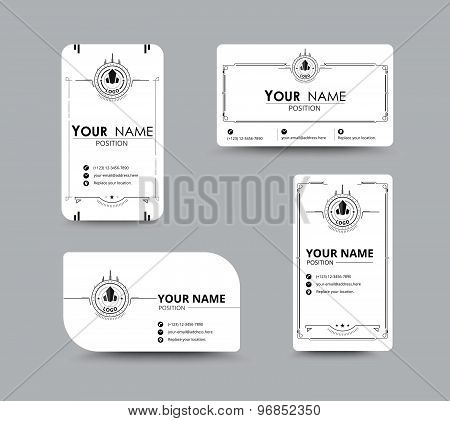 White Business Name Card. Design With Simple Concept. Vector Illustration.