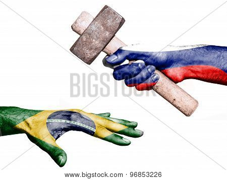 Flag of Russia overprinted on a hand holding a heavy hammer hitting a hand representing the Brazil. Conceptual image for political fiscal or social aggressions penalties taxation poster