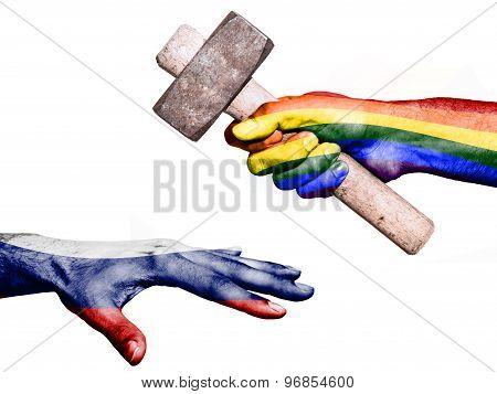 Flag of Peace overprinted on a hand holding a heavy hammer hitting a hand representing the Russia. Conceptual image for political fiscal or social aggressions penalties taxation poster