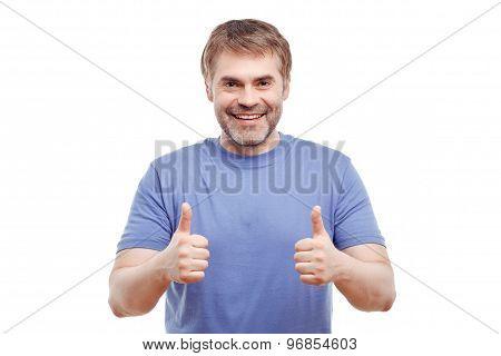 Smiling man expressing positivity