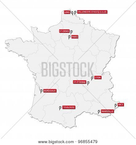 France 2016 Soccer Stadium Map