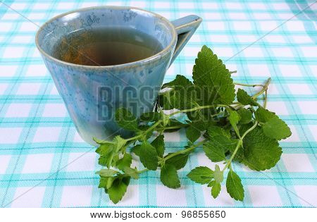 Fresh Lemon Balm And Cup Of Herbal Drink On Tablecloth