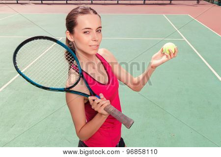 Nice girl playing tennis