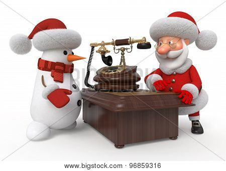 Santa Claus And Snowman With Phone