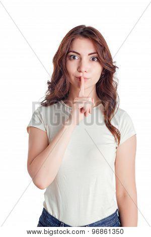 Nice young girl keeping silence
