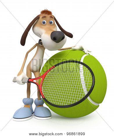 Dog Tennis Player