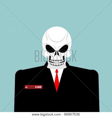 Mr Deadline. Death Of A Businessman In A Suit. Skeleton In An Office Suit. Vector Illustration.