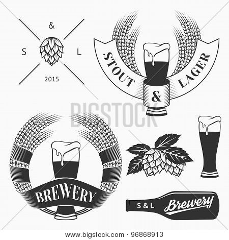 Vector craft beer and brewery emblems, logos templates, labels, symbols  and design elements in vintage style. poster
