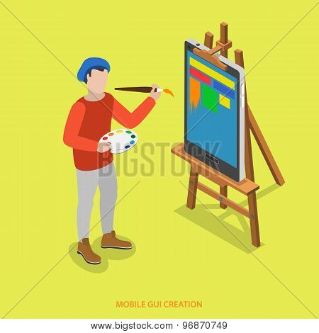 Mobile GUI creation flat isometric vector concept. A painter paints  just on smartphone which stands on easel. poster