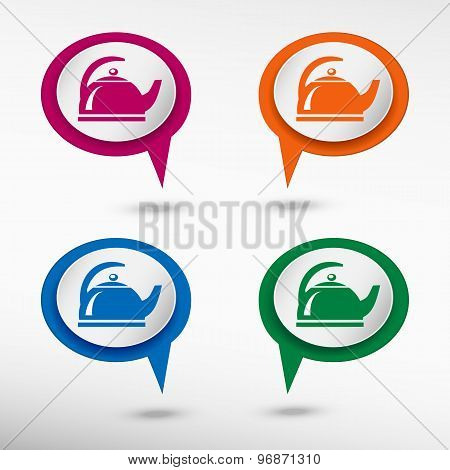 Tea maker on colorful chat speech bubbles