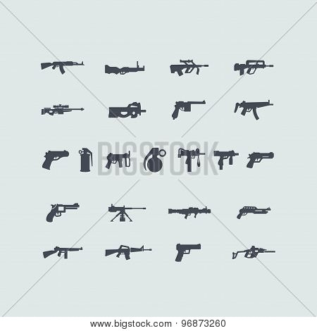 Set of fire weapon icons