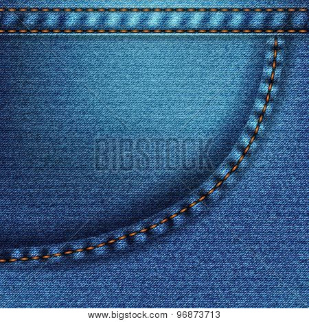 Background pattern. Texture of blue denim fabric with pocket. poster