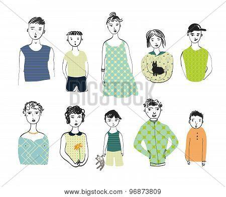 Girls, Boys, Men, Women Isolated On A White Background.  Doodle Set.