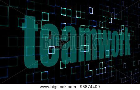 Pixelated Words Teamwork On Digital Background