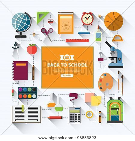 Back to school flat vector background