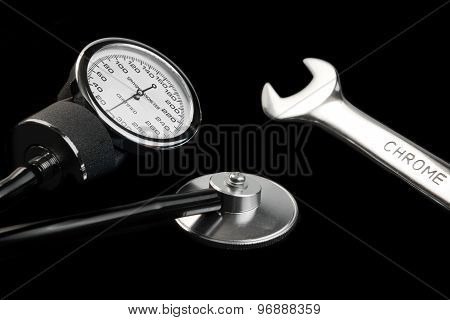 Manual Sphygmomanometer Isolated On Black Close-up