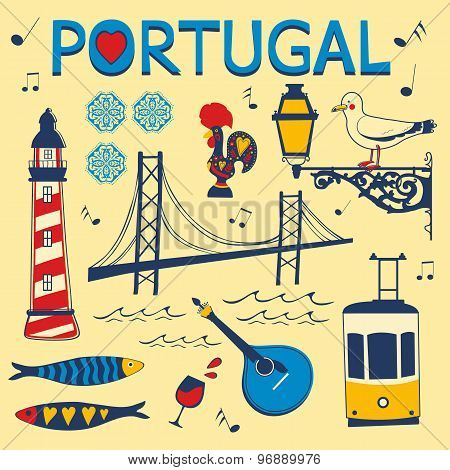 Stylish collection of typical Portuguese icons