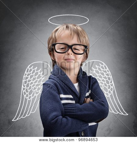 School boy angel with wings and halo concept for being clever, good, success in education or smug poster