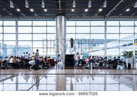 SAO PAULO, BRAZIL - CIRCA JAN 2015: The new lounge of the Gru Airport in Sao Paulo, Brazil.