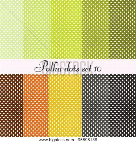 polka dots set seamless patterns 10 pcs