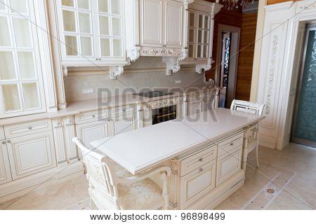 Novi Petrivtsi, Ukraine - May 27, 2015 Mezhigirya residence of ex-president of Ukraine Yanukovich. Moderm kitchen interior