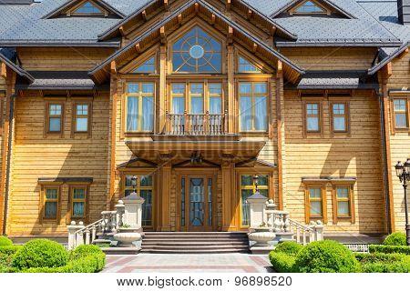 Novi Petrivtsi, Ukraine - May 27, 2015 Mezhigirya residence of ex-president of Ukraine Yanukovich.  Facade of the