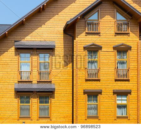 Novi Petrivtsi, Ukraine - May 27, 2015 Mezhigirya residence of ex-president of Ukraine Yanukovich. Close up of wooden house