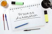 Process Automation - handwritten text in a notebook on a desk - 3d render illustration. poster