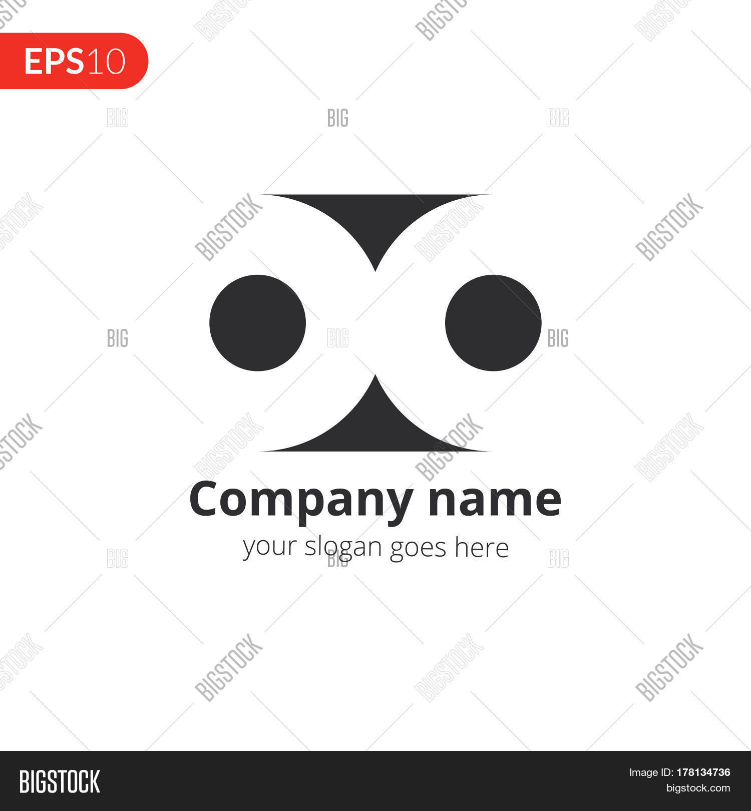 Abstract Double Circe Logo Vector Design Loop Shape Emblem Identity Icon Monochrome Symbol