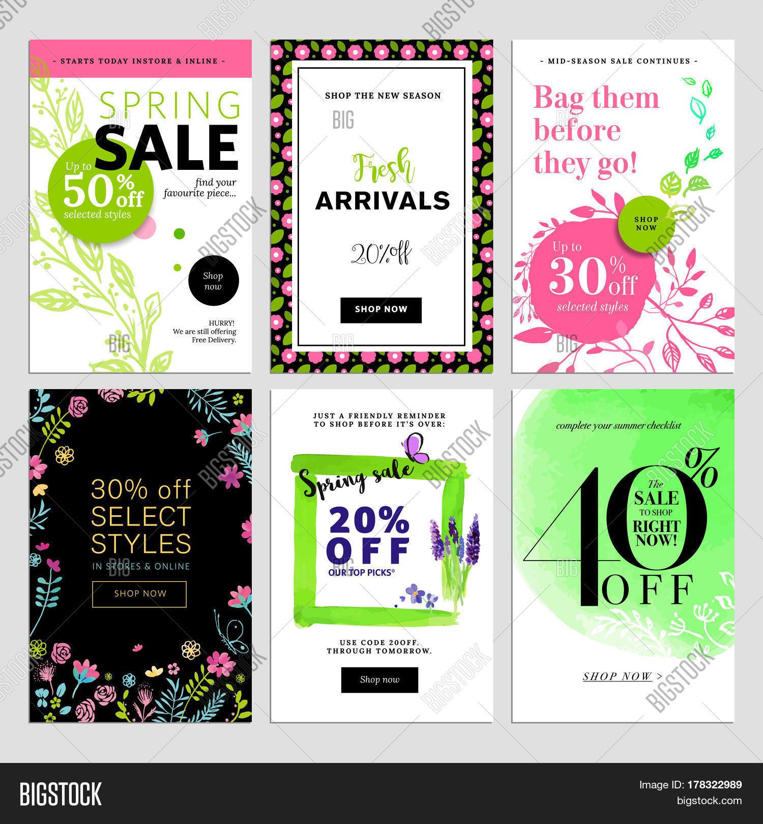 Set Social Media Sale Vector Photo Free Trial Bigstock