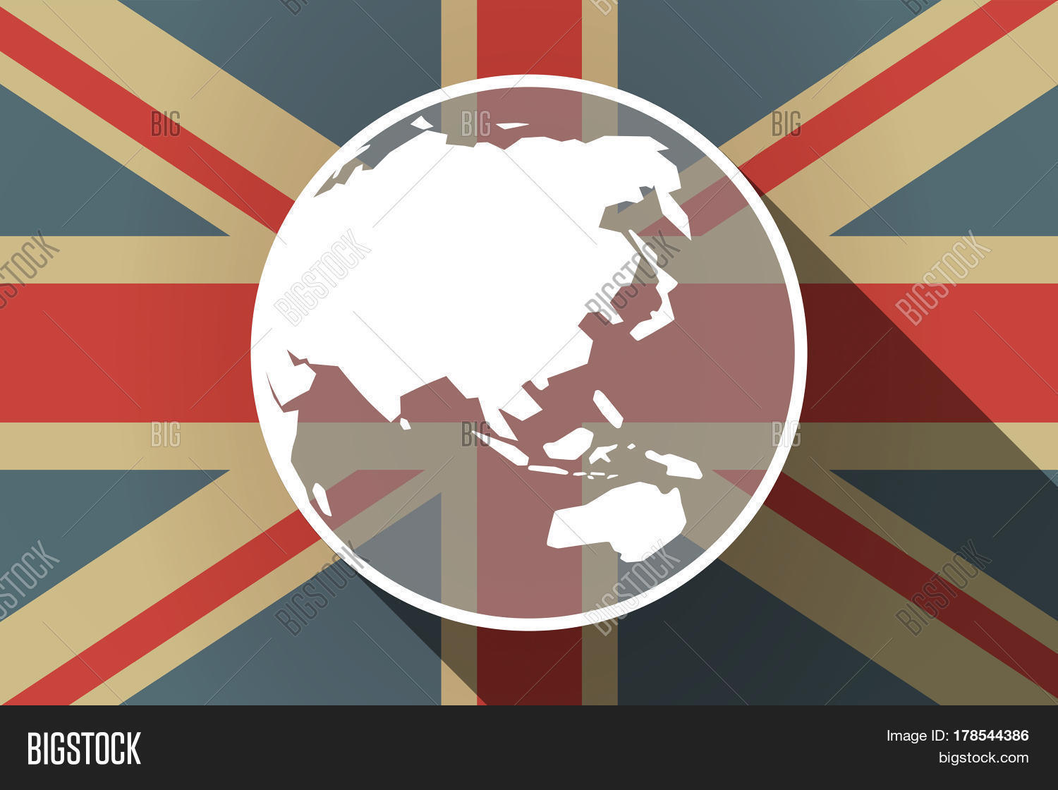 Long shadow uk flag vector photo free trial bigstock long shadow uk flag with an asia pacific world globe map gumiabroncs Image collections