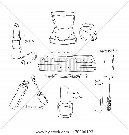 Set Of Vector Hand Drawn Doodle  Makeup Products