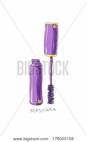 Vector Hand Drawn Doodle  Makeup Products: Mascara