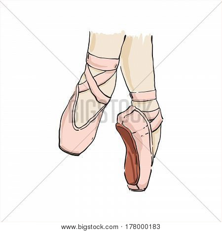 Vector Hand Drawn Ballet Shoes Points.