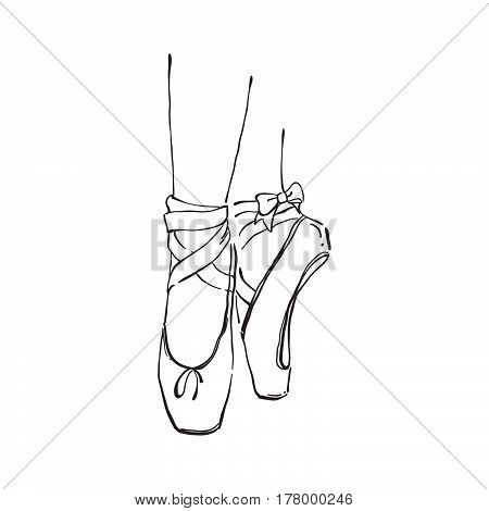 Vector Hand Drawn Ballet Shoes Points