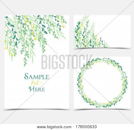 Vector illustration decoration of branches and leaves in a circle. Set invitation