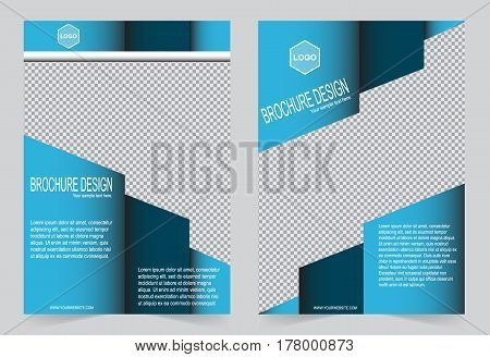 Blue Brochure template flyer design abstract template for annual report magazine poster