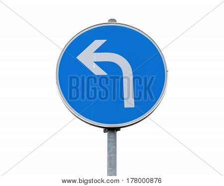 Turn Left Road Sign Isolated On White Background