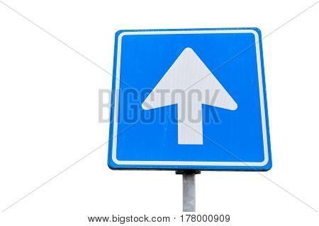 One Way Street, Blue Square Road Sign With Arrow