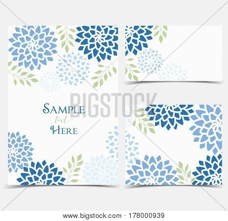 Set vector illustration blue flowers on a white background. Floral invitations