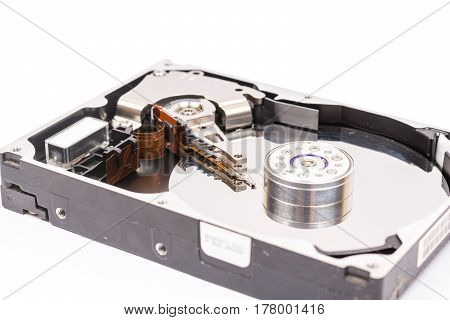 Opened Pc Hard Disc Isolated Over White Background