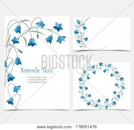 Set vector illustration blue bell-shaped bloom, summer flower Campanula