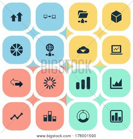 Vector Illustration Set Of Simple Data Icons. Elements Statistics, Data Sending, Spreading Chart And Other Synonyms Line, Spread And Network.