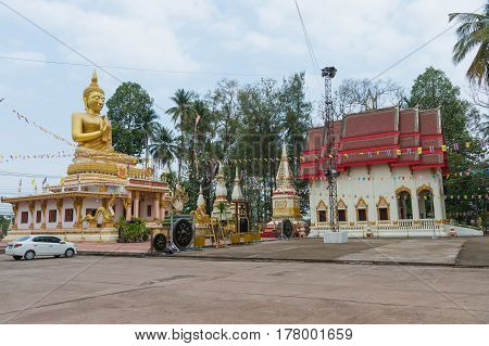 Udon Thani Thailand - March 18 2017 : The place for worship. Big Golden Buddha Statue at Wat Na Kha Temple in Udon Thani Province Thailand.