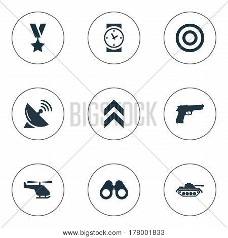 Vector Illustration Set Of Simple Army Icons. Elements Military Order, Telescope, Target And Other Synonyms Arm, Pistol And Chopper.