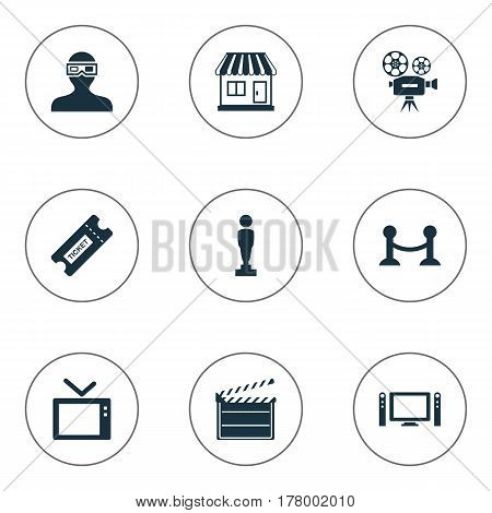 Vector Illustration Set Of Simple Movie Icons. Elements Home Cinema, Pass, Oscar And Other Synonyms Home, Reward And 3D.