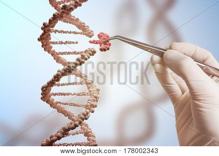 Genetic engineering and gene manipulation concept. Hand is replacing part of a DNA molecule. poster